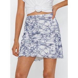 [Nasty Gal] NWT White Blue Tie Dye Mini Skirt